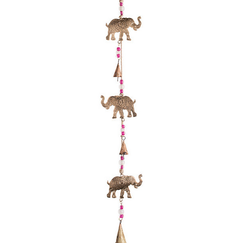 String of brass elephants and bells