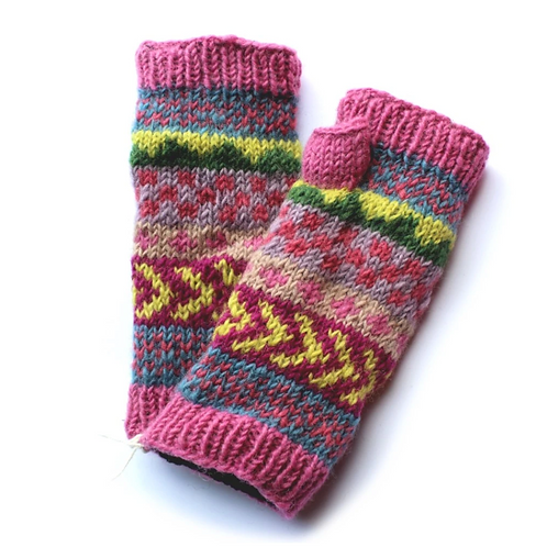 Pink stripe wool wrist warmers