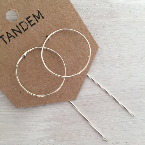Silver large circle threader earring
