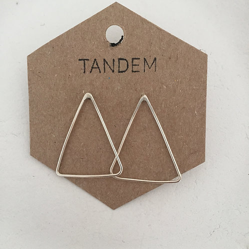 Silver large triangle studs