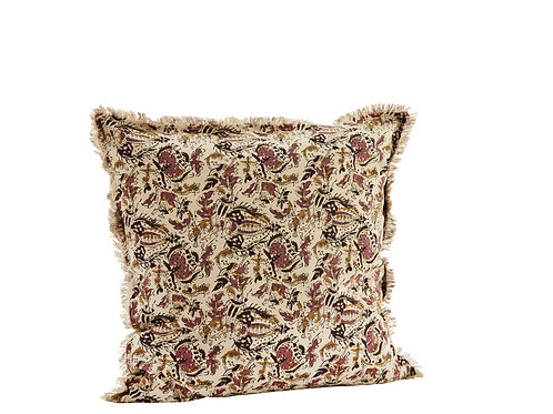 Printed cushion cover with fringes (dusty pink)