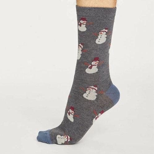 Snowman socks dark grey
