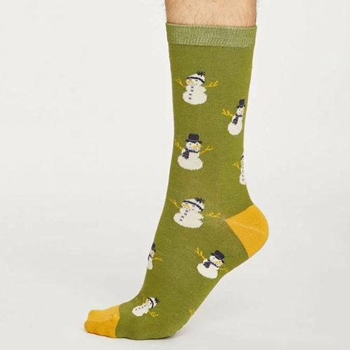Snowman socks green