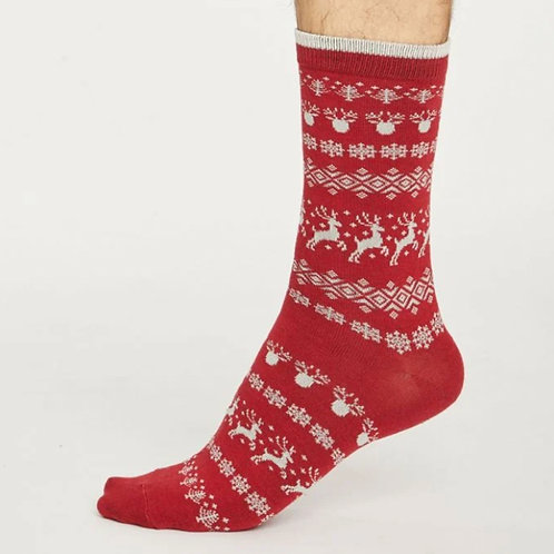Reindeer Christmas socks red