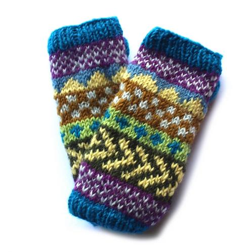 Turquoise stripe wool wrist warmers
