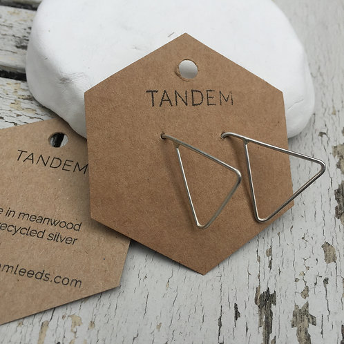 Silver triangle threader earring