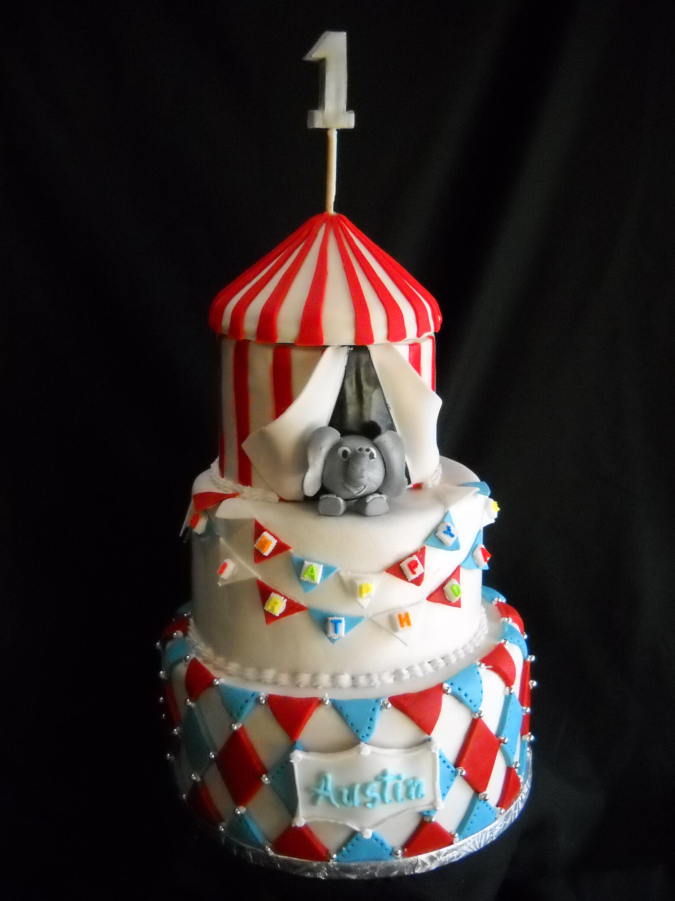 Baby's 1st Birthday Circus Cake