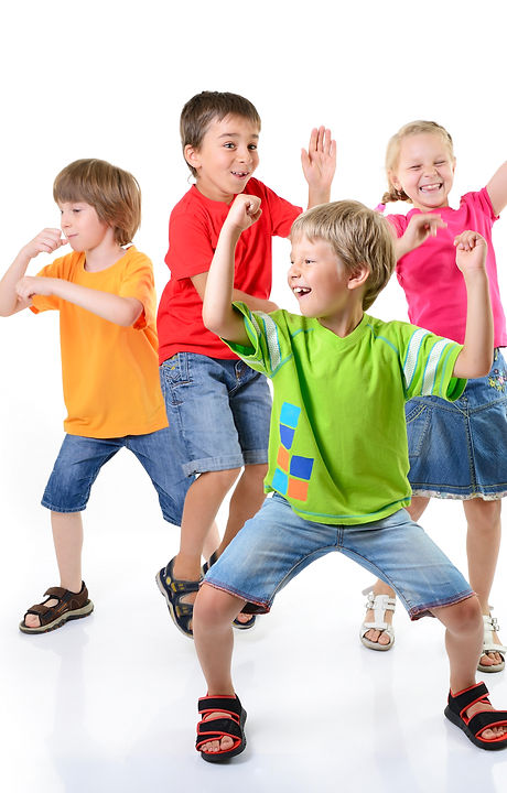 happy children dancing on a white backgr