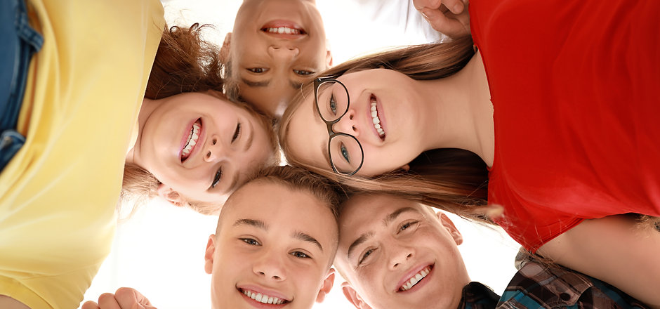 Portrait of teenagers on white backgroun