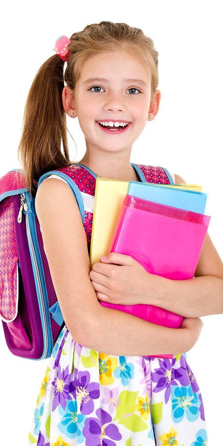 Portrait of smiling school girl child wi