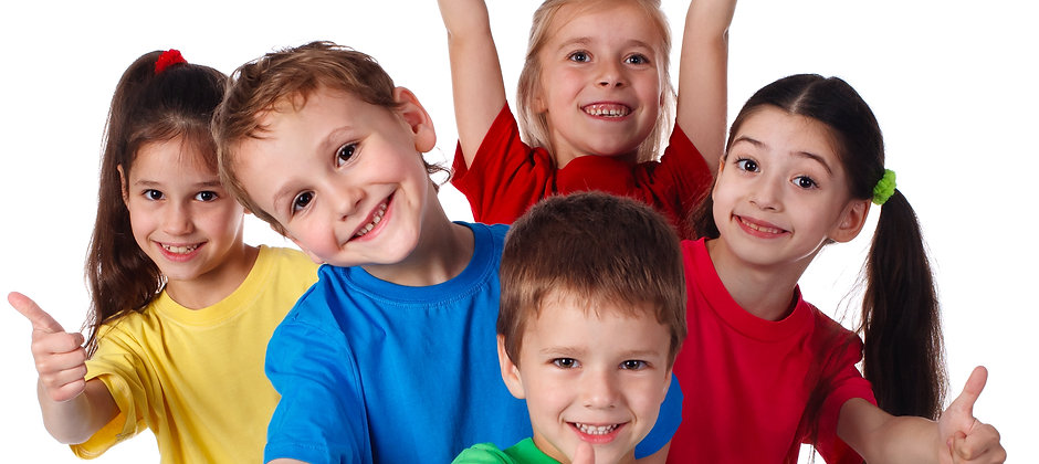 Group of happy children with hands up an