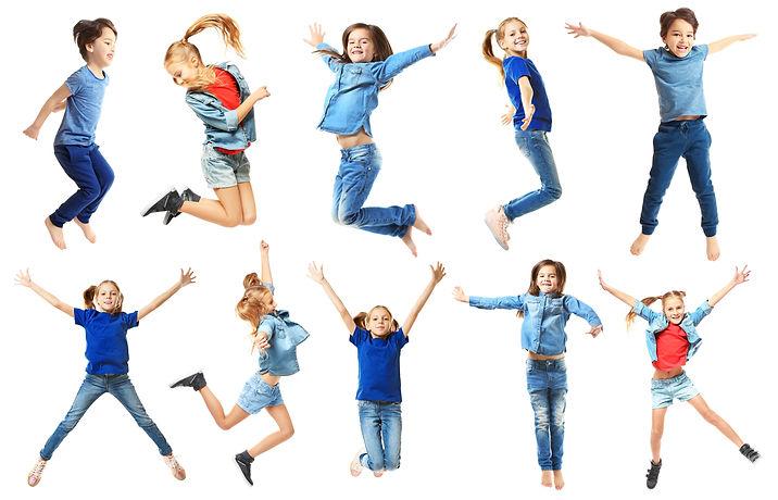 Cute jumping children on white backgroun