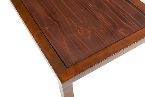 Redwood top with mixed patina hammered steel frame