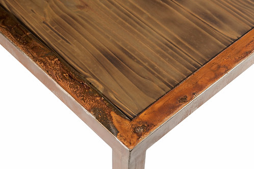 Rosewood top with Sierra patina coffee table
