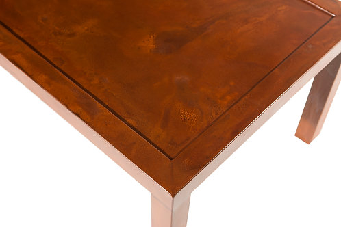 Mixed patina steel top coffee table