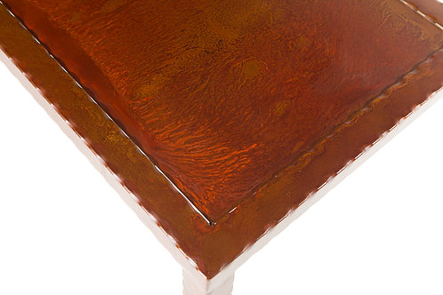 Fire patina steel top with hammered frame