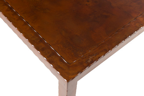 Dark Japanese brown patina steel top with hammered steel frame