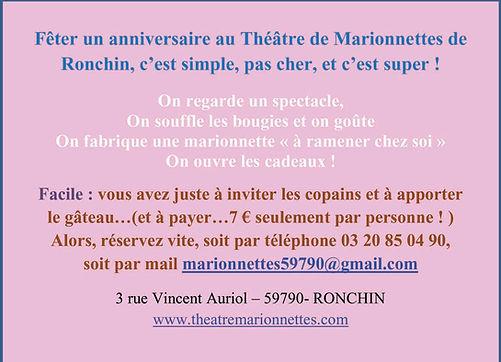 Informations anniversaire au Théâtre de Marionnettes de Ronchin