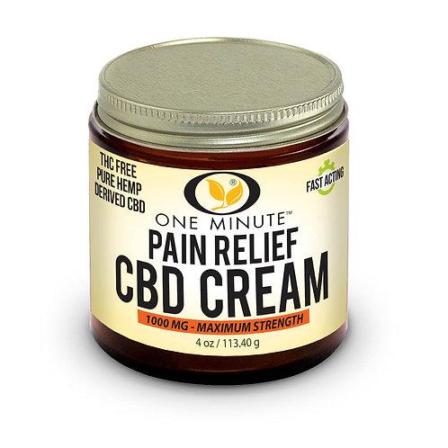 4oz One Minute CBD Cream THC FREE 1000mg