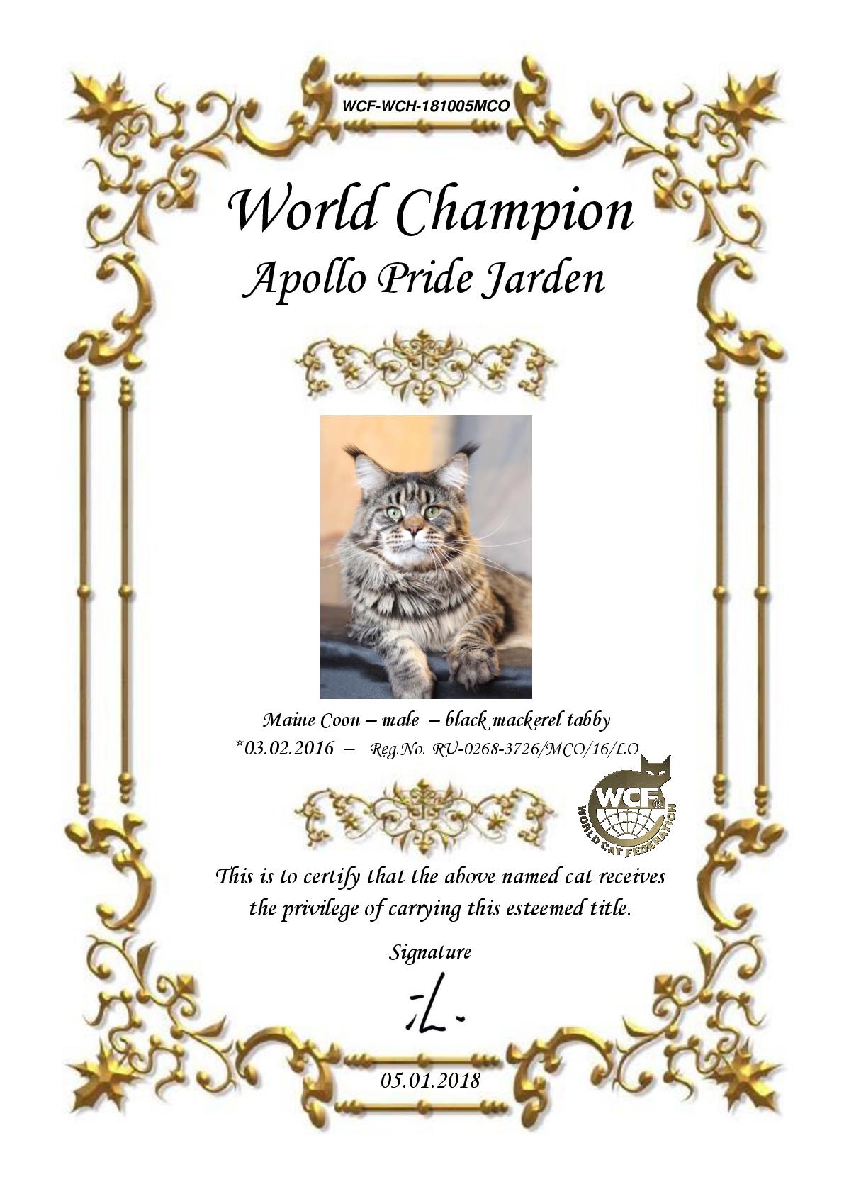 World Champion ApolloPride Jarden