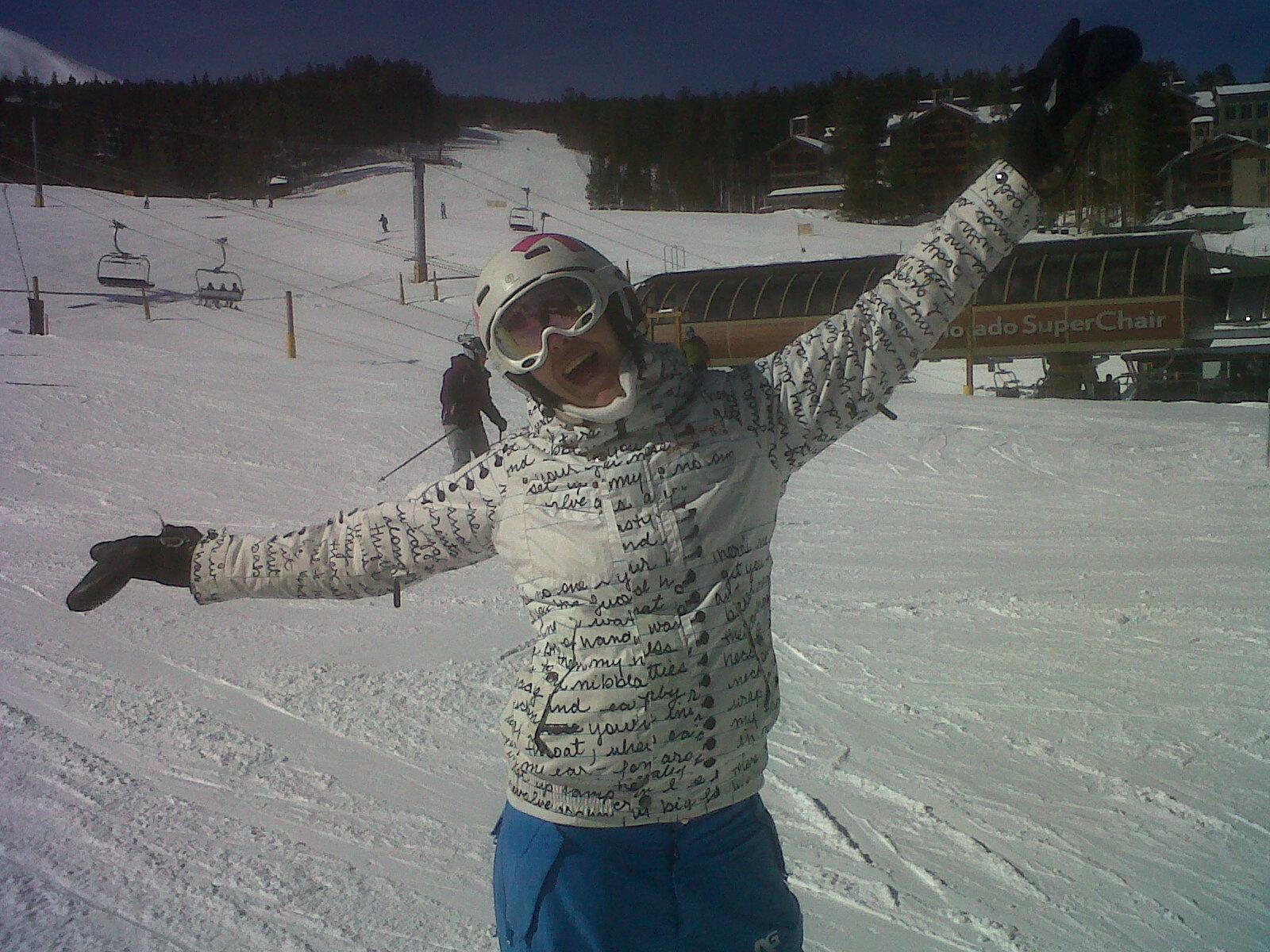 Mel on a snowboard