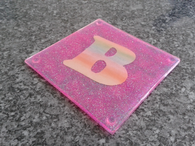 Personalised Glitter Coaster.
