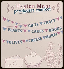 Advert for Heaton Moor Market depicting purple and blue bunting and advertising gifts, crafts, plants, cakes, books, olives, cheese and more!
