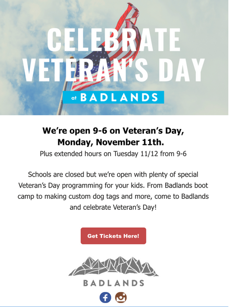 Veteren's Day Special Hours- Email