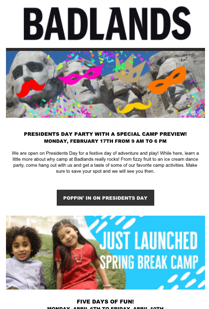 Presidents' Day Special Hours- Email