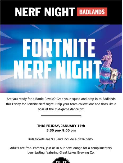 Fortnite Nerf Night- Email