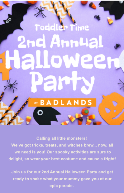 Toddler Time Halloween Party- Email