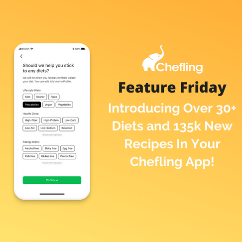 🎉🎉 New! 30+ Diets and 135k New Recipes on Chefling 🎉 🎉