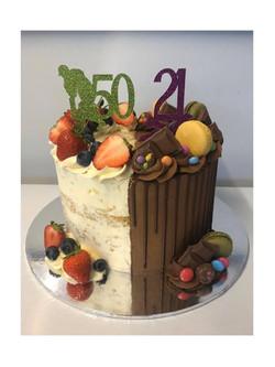 Victoria Sponge & Chocolate Half & Half Cake