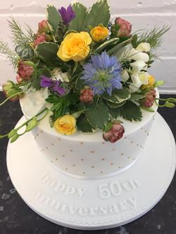 Fresh Flower Anniversary Cake