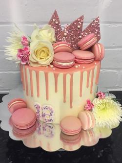 Pink 18th Drip Cake
