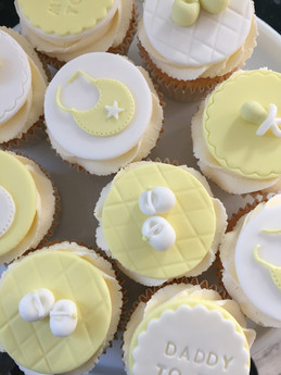 Yellow & White Baby Shower Cupcakes