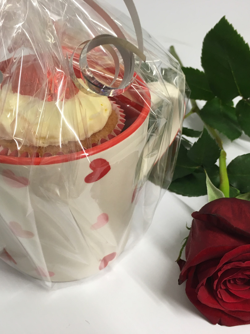 Cupcake & Chocolates In A Mug With A Rose