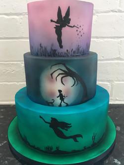 3 Tier Ombre Silhouette Cake