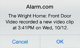 Alarm.com video notification
