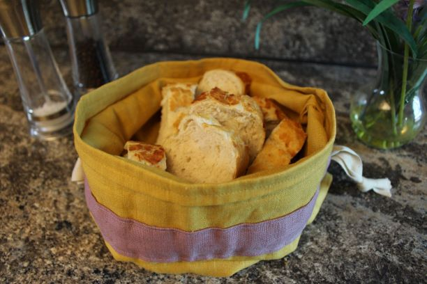 Bevs Eco Products Ochre linen bread bag