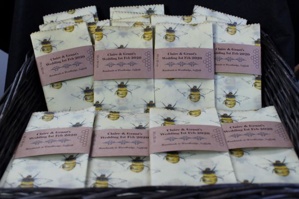 Bee fabric beeswax wrap wedding favours.