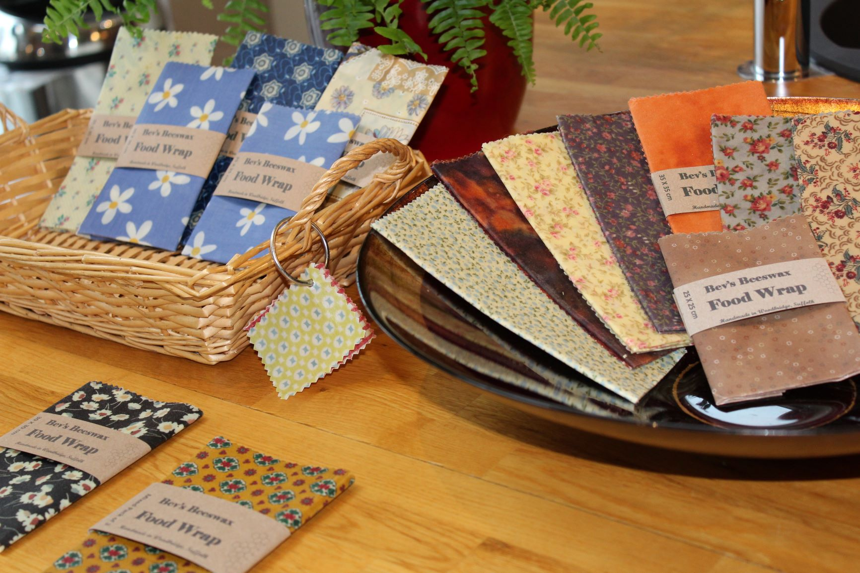 Basket and bowl of Bev's Beeswax wraps
