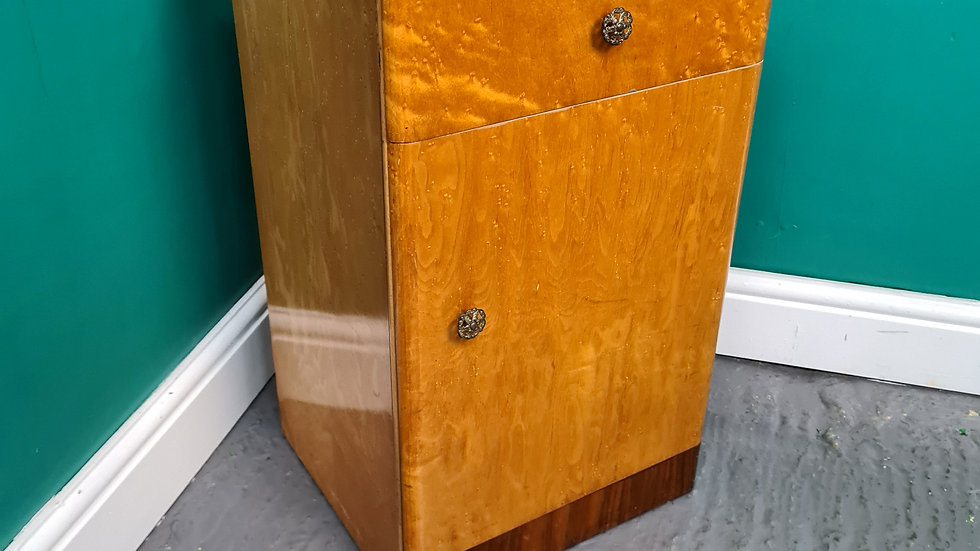 A Art Deco Vintage Birds Eye Maple Bedside Cabinet Table ~Delivery Available~