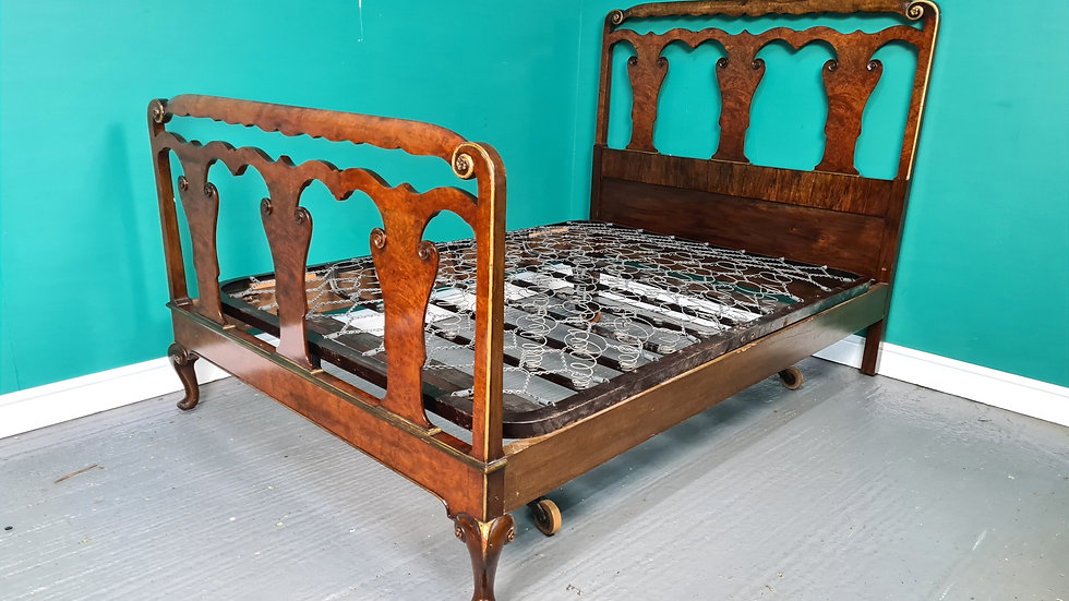 An Antique Early 20th Century Burr Walnut Double Bed Frame ~Delivery Available~