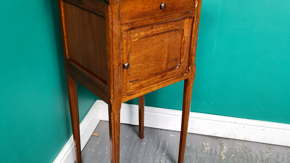 An Antique Marble Topped Pot Cupboard Bedside Table ~Delivery Available~