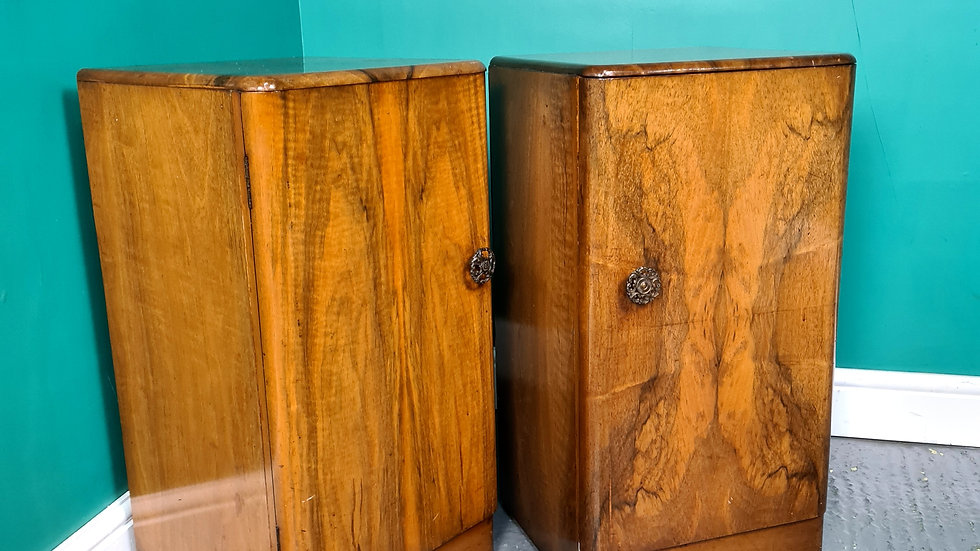 An Antique Mid 20th Century Walnut Pair of Bedside Cabinets Tables ~Delivery Ava