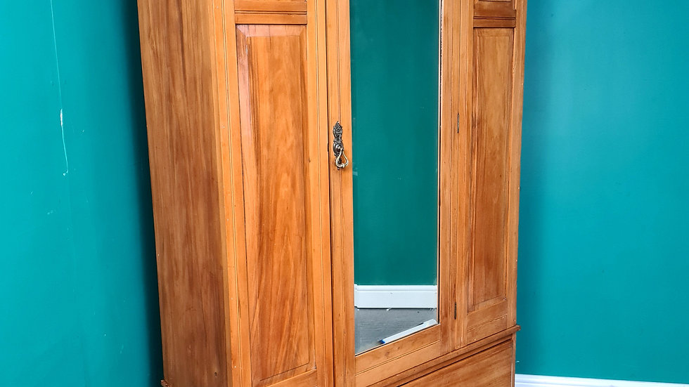 An Antique Victorian Solid Satinwood Wardrobe ~Delivery Available~