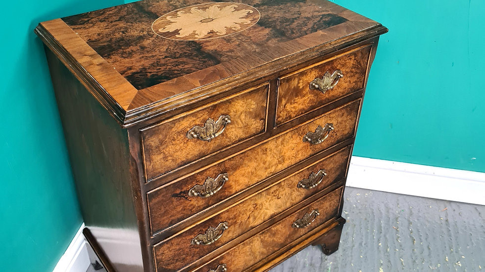 An Antique Style Small Burr Walnut Chest of Drawers ~Delivery Available~