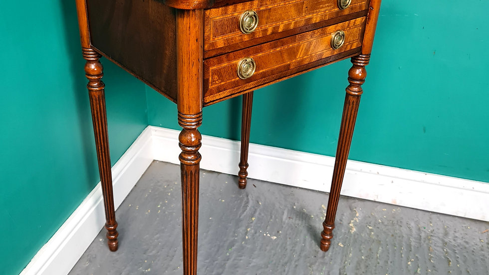 An Antique Style Mahogany Cross Banding Cutlery Canteen Table Stand ~Delivery Av