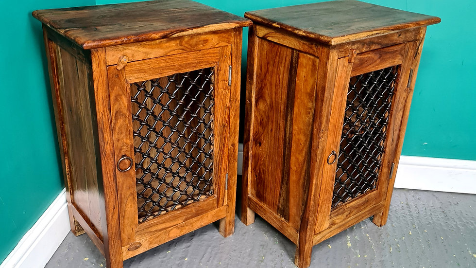A Pair of Antique Style Indian Rosewood Bedside Tables Cabinet ~Delivery Availab